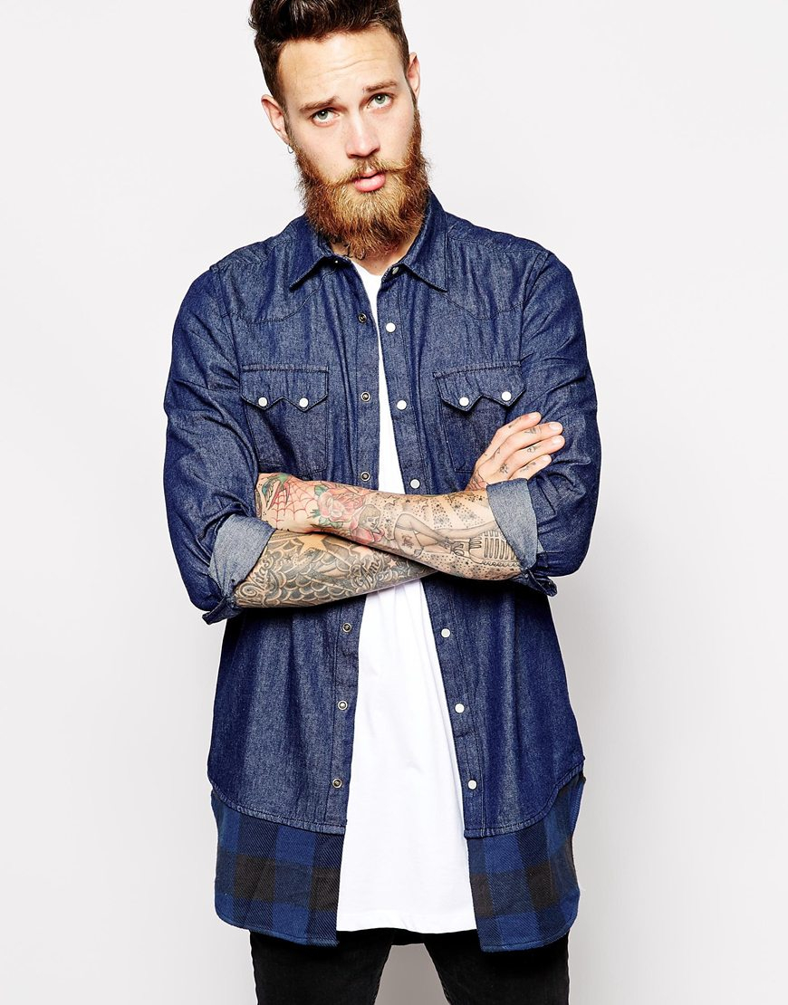 71dc8c2159 Lyst - ASOS Longline Denim Shirt in Long Sleeve with Rinse Wash and Buffalo  Plaid Hem in Blue for Men