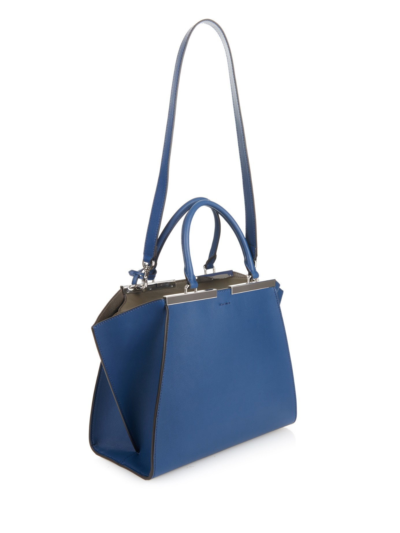 ... denmark fendi 3jours small trapeze wing leather tote in blue lyst e15b4  b6ead ... af35d6007b15b