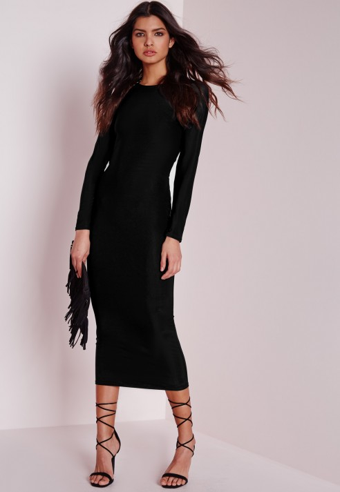 a4a9e02cf2c5 Bella Black Backless Midi Dress With Long Sleeves