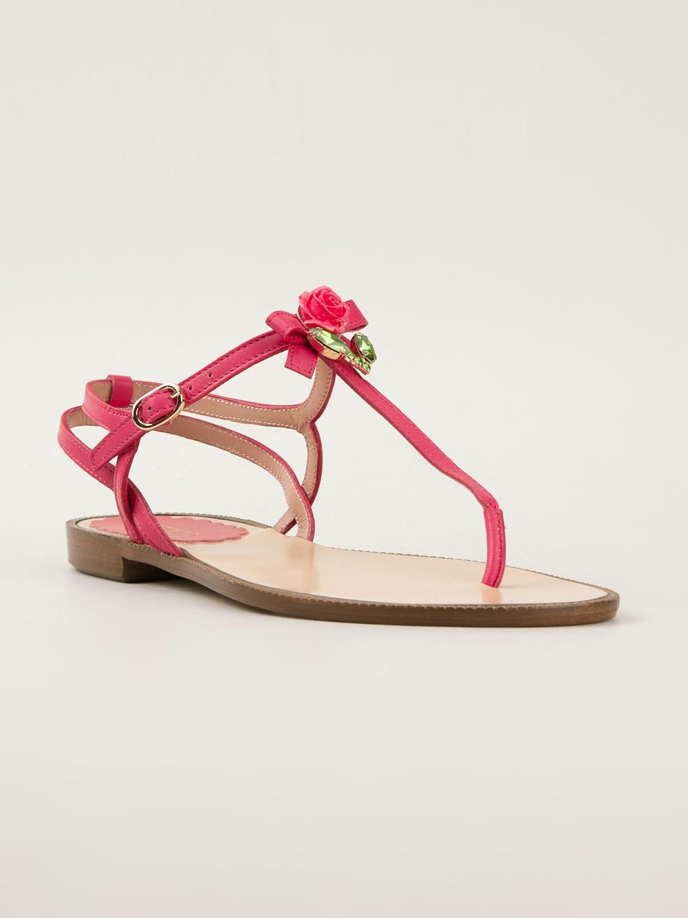 valentino embellished sandals in pink pink