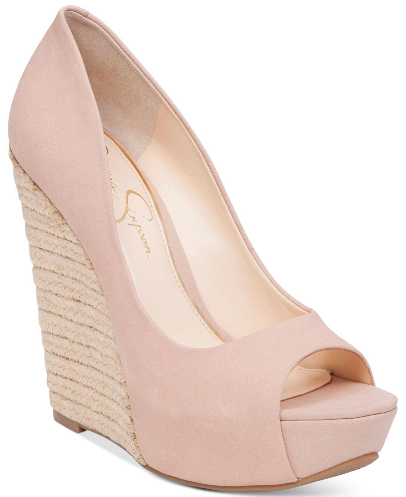Jessica simpson Bethani Peep-toe Platform Wedge Pumps in Pink | Lyst