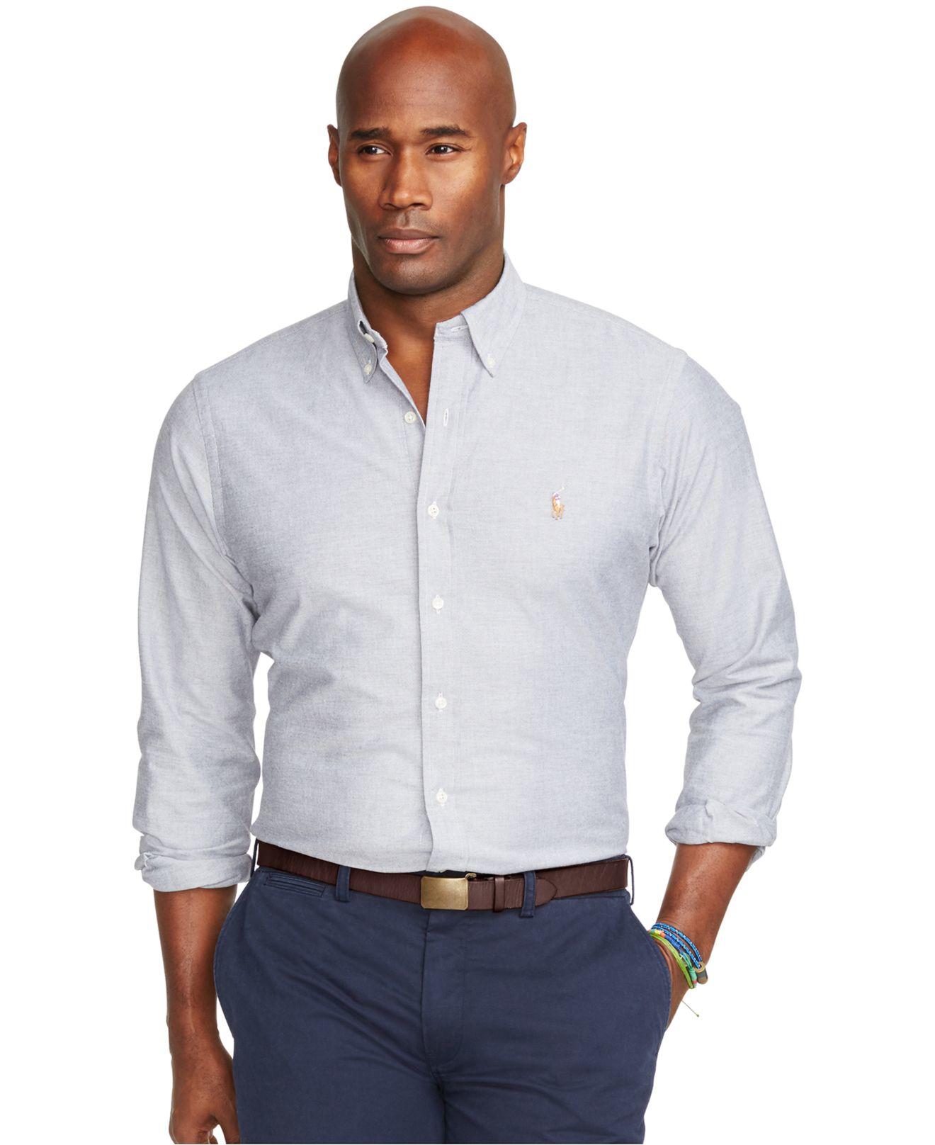 Polo ralph lauren men 39 s big and tall gingham oxford shirt for Big and tall oxford shirts