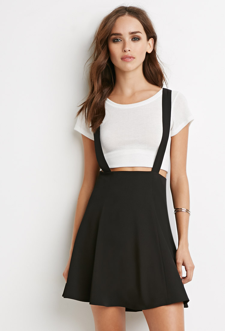 a9729207bf9 Lyst - Forever 21 Flared Overall Skirt in Black