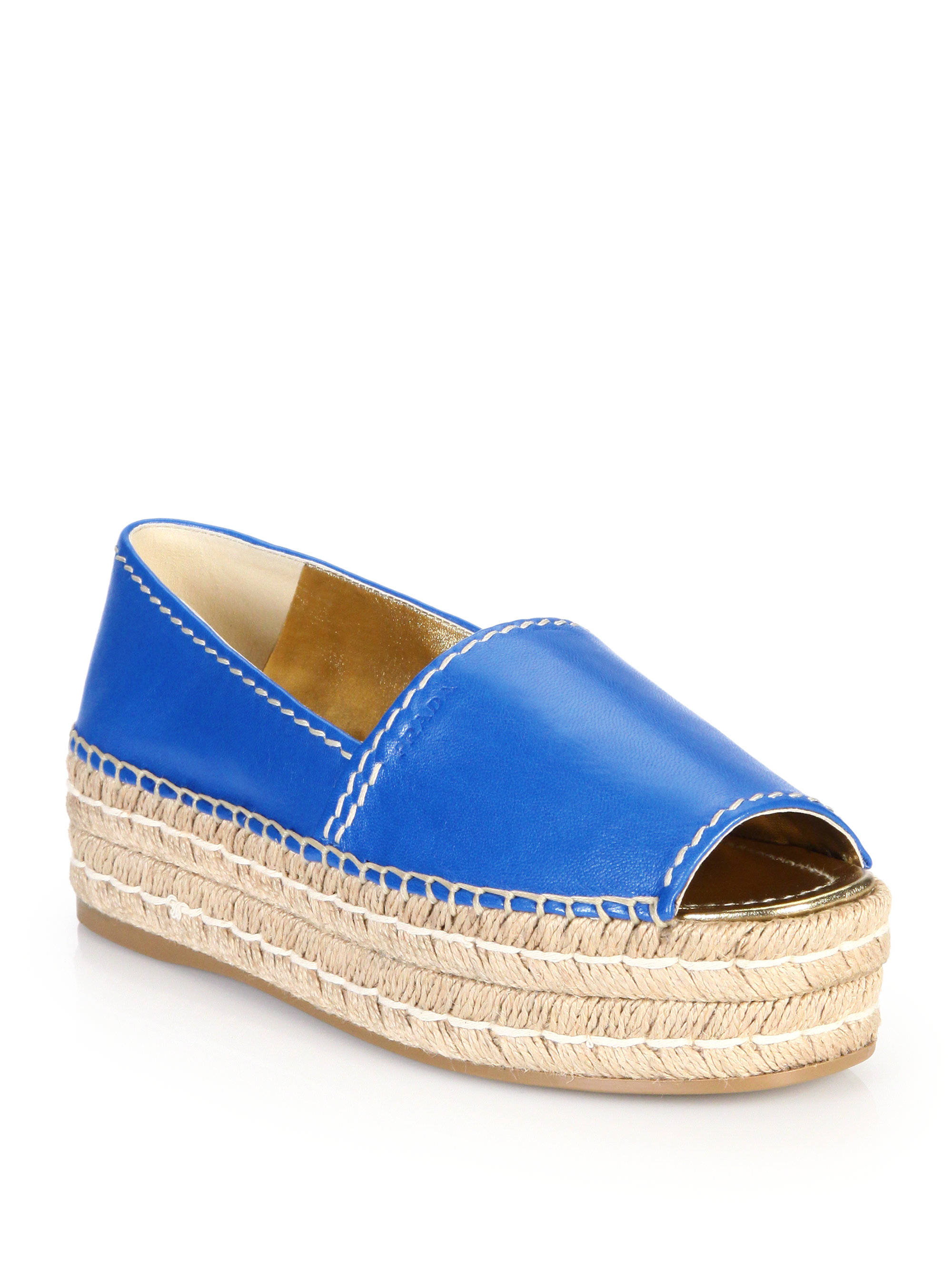 ddbadc2be32b Lyst - Prada Open-toe Leather Platform Espadrilles in Blue