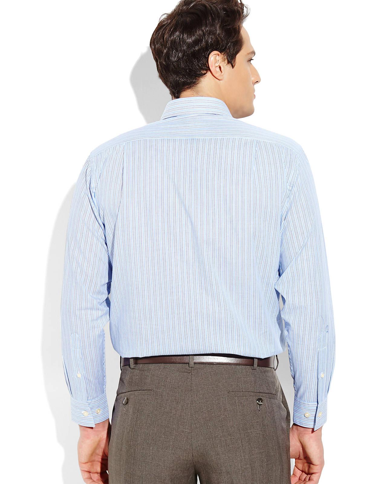 Lyst Pierre Cardin Blue White Stripe Slim Fit Dress Shirt In Blue
