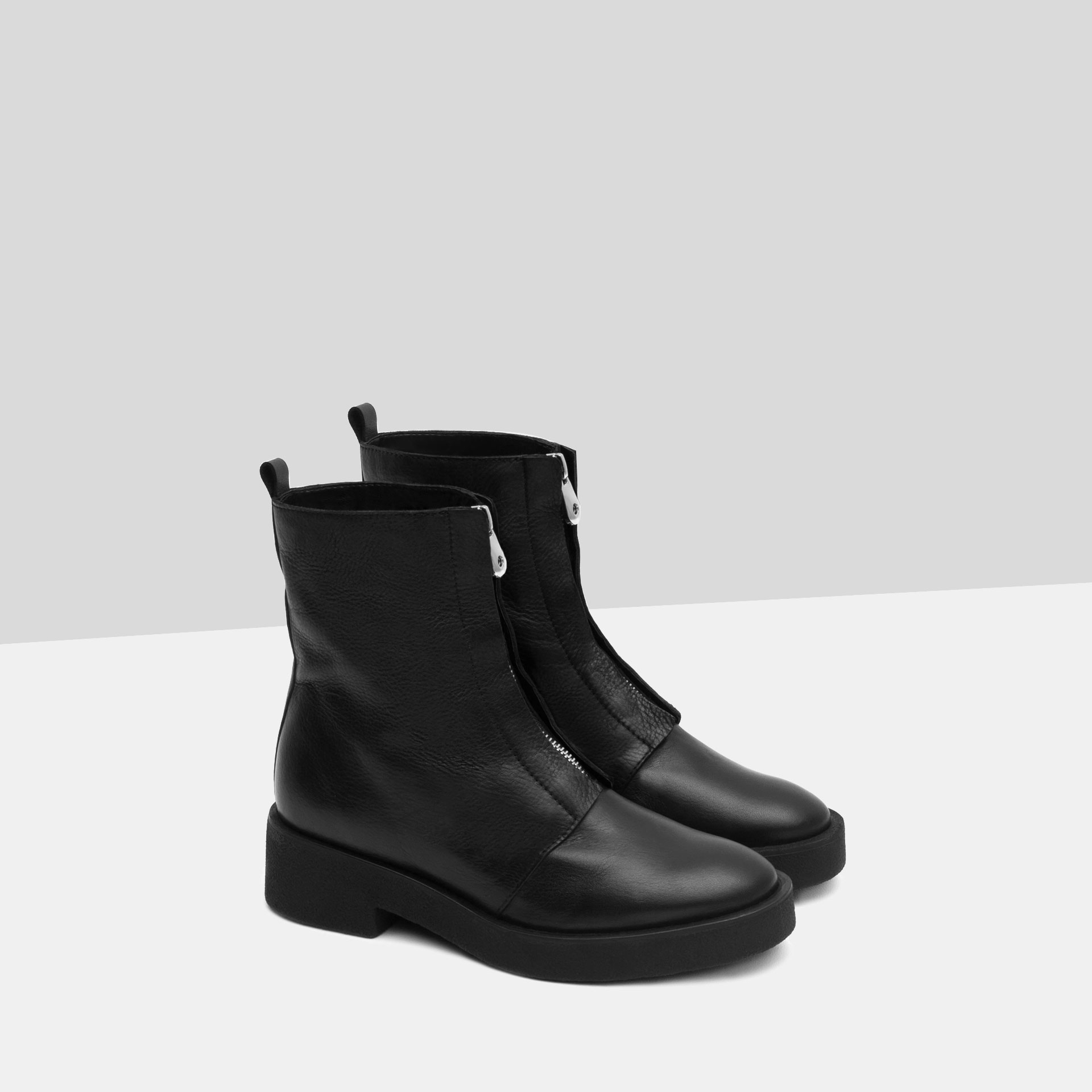 zara ankle boots with zip in black for lyst