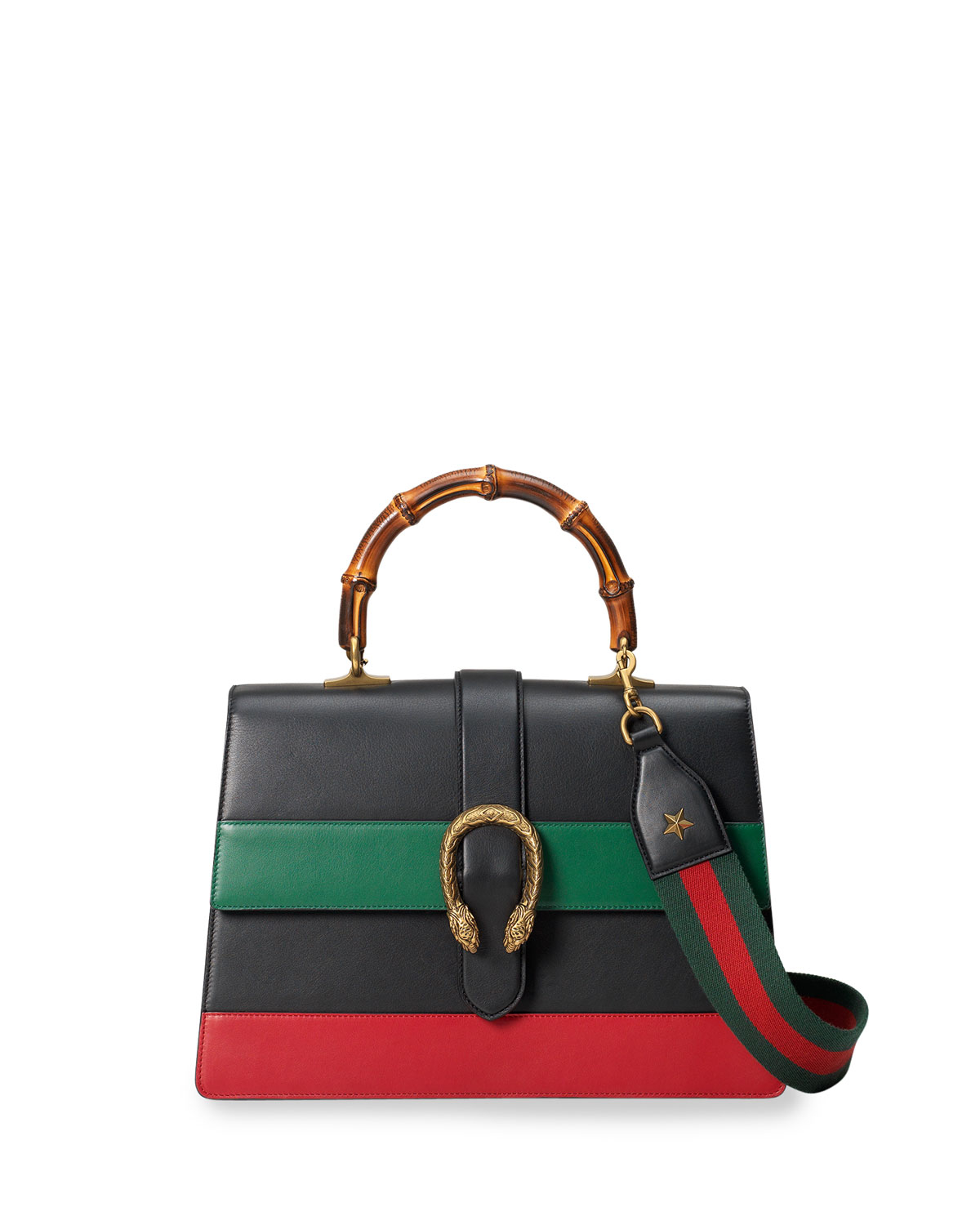 Lyst - Gucci Dionysus Striped Bamboo Top-Handle Bag in Black 181a14b38d39d