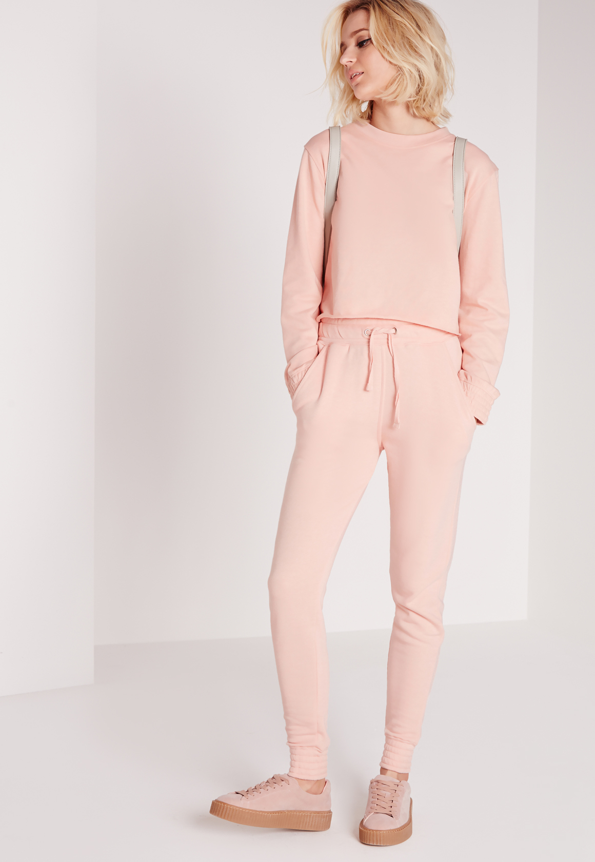 Missguided Pink Crew Neck Sweater in Pink | Lyst