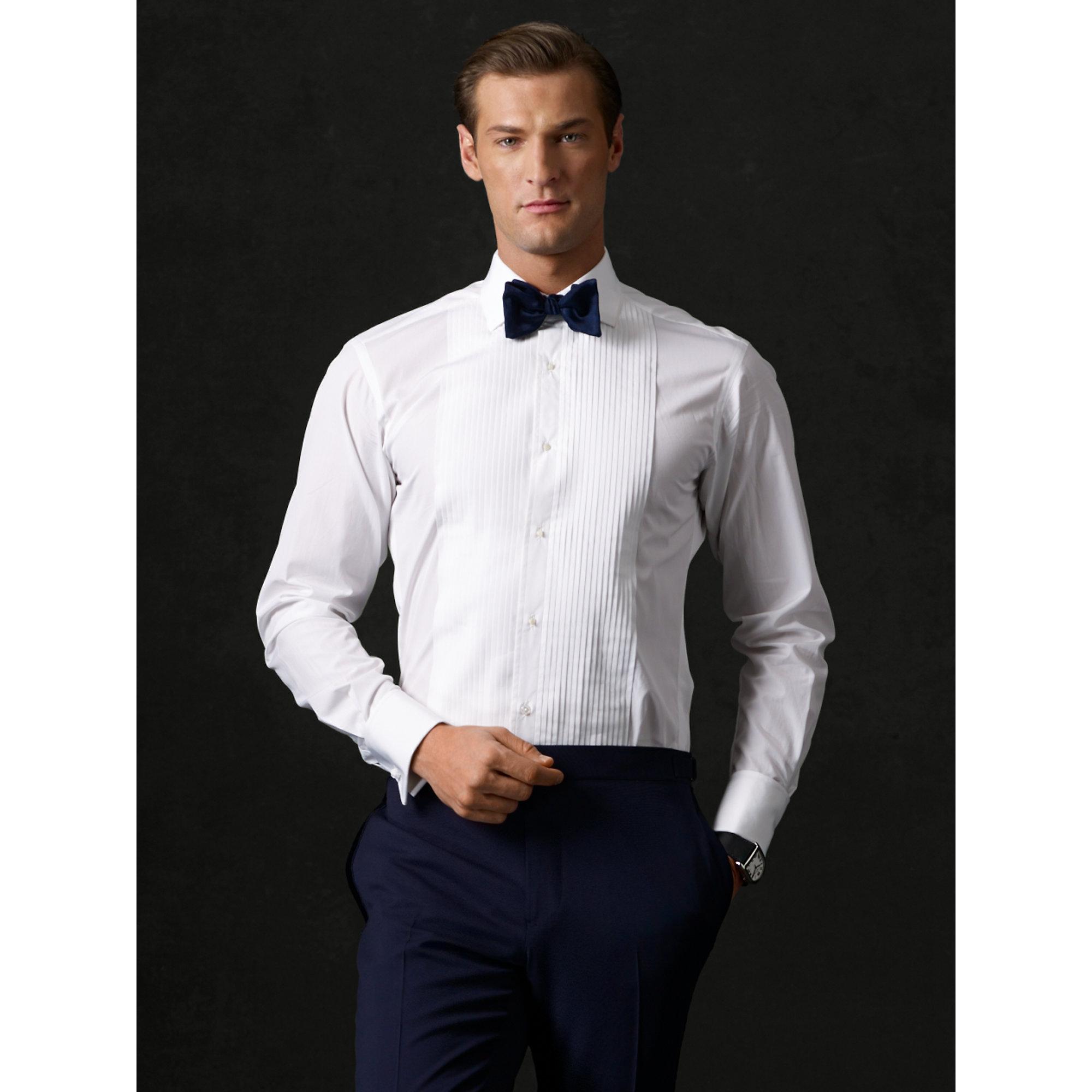 $595 Ralph Lauren Purple Label Italy Mens White Aston Pleated Front Tuxedo Shirt