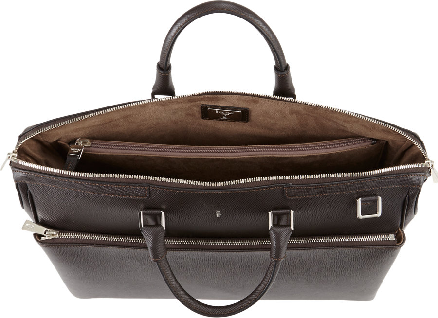 Serapian Evolution Doublehandle Briefcase In Brown For Men