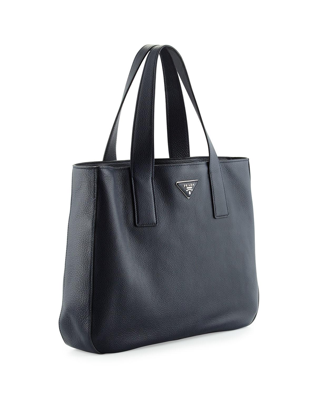 77c51111d6bee8 ... best price lyst prada vitello daino medium open wide strap tote bag in  black ec78b 2e635