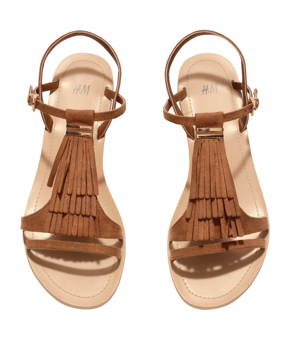 d27a93c24e54 H M Fringed Sandals in Brown - Lyst