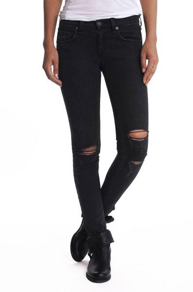 Rag u0026 Bone Skinny Jean with Holes in Black (ROCK) | Lyst