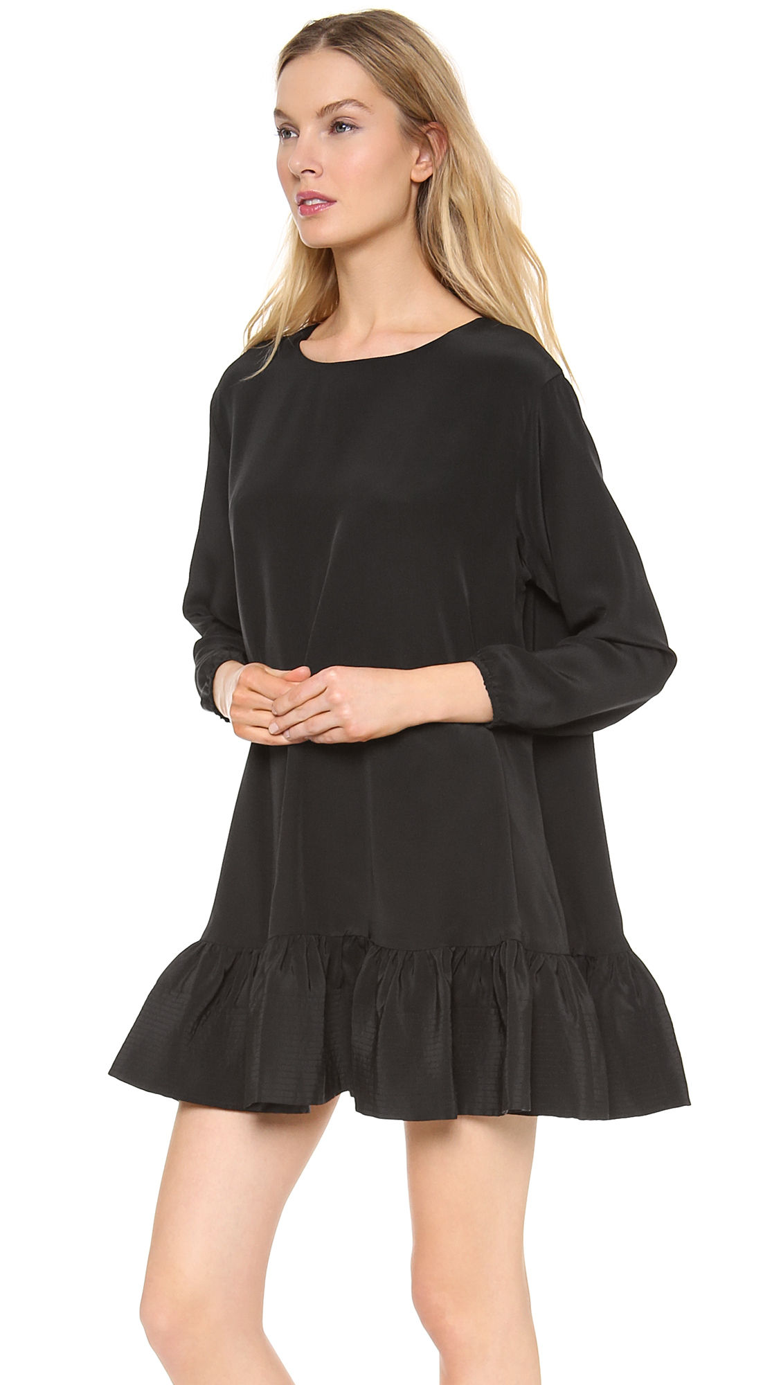 Lyst cynthia rowley long sleeve flounce dress navy in for Where to buy dress shirts