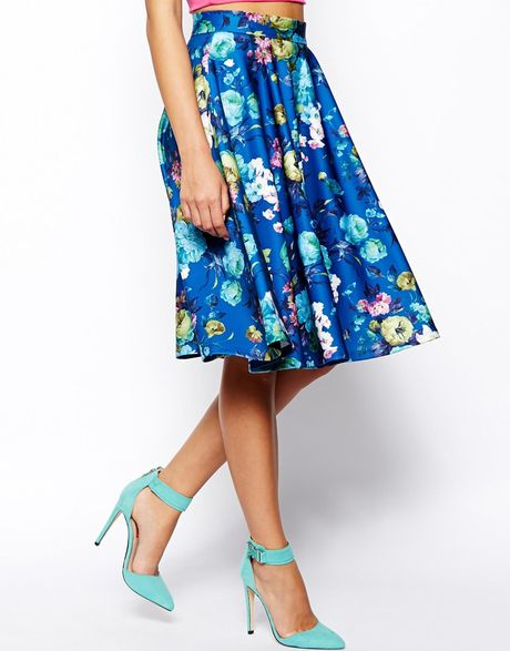 asos floral midi skirt in scuba in blue lyst