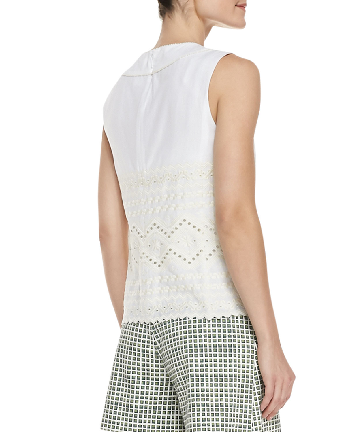 04ce94bdb7fef Lyst - Tory Burch Seraphina Embroidered Sleeveless Cotton Top in White