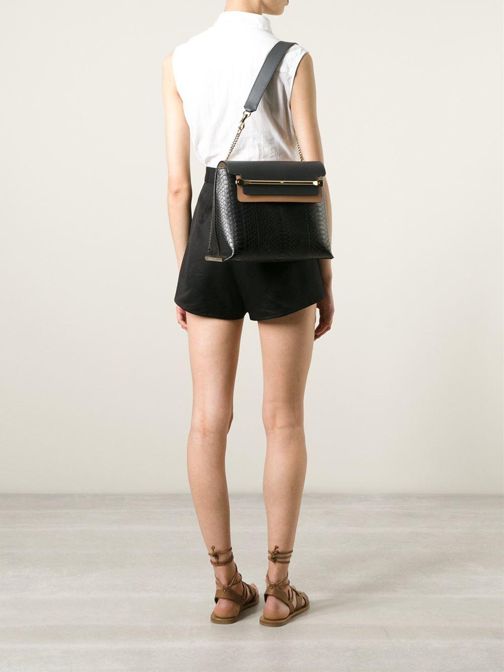 Chlo¨¦ Clare Python-Skin Shoulder Bag in Black | Lyst