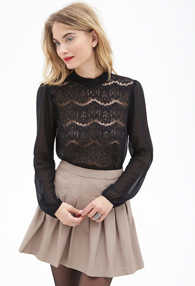 Forever 21 Contemporary Sheer Lace & Chiffon Blouse in Black | Lyst