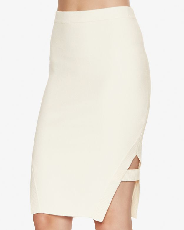 Jonathan simkhai Cut Out Hem Knit Pencil Skirt in White | Lyst