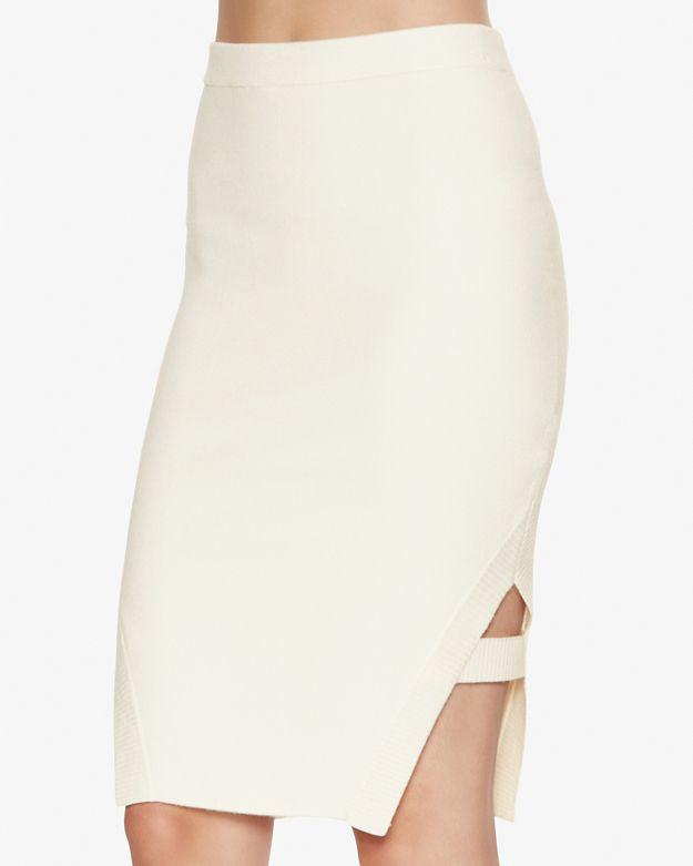 68736f13fc Lyst - Jonathan Simkhai Cut Out Hem Knit Pencil Skirt in Natural