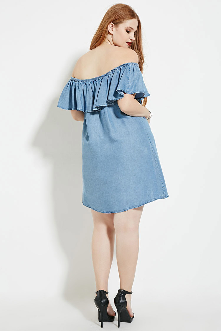 Forever 21 Plus Size Chambray Dress in Blue - Lyst