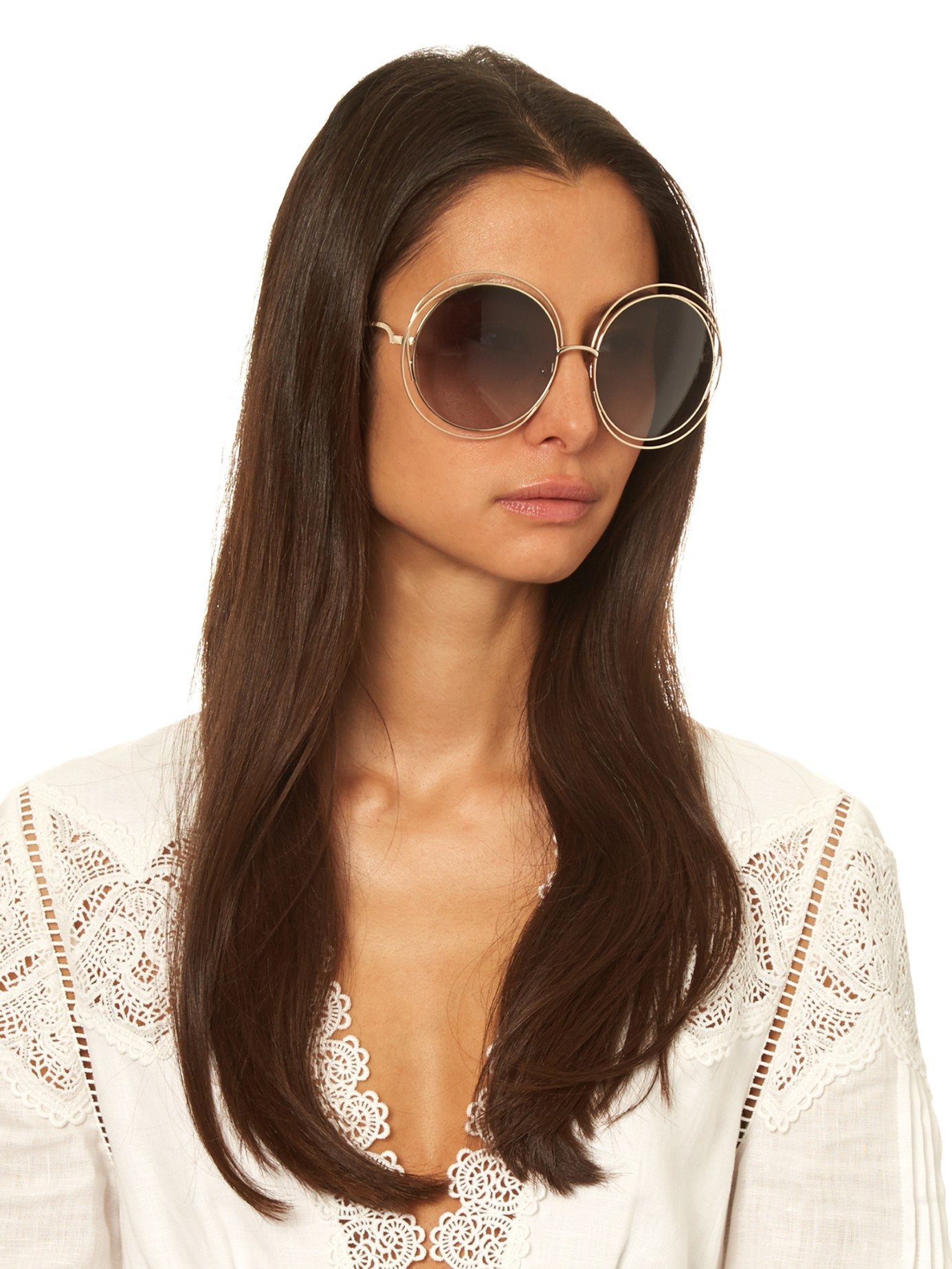 772d848812b Chloé Carlina Round-framed Sunglasses in Metallic - Lyst