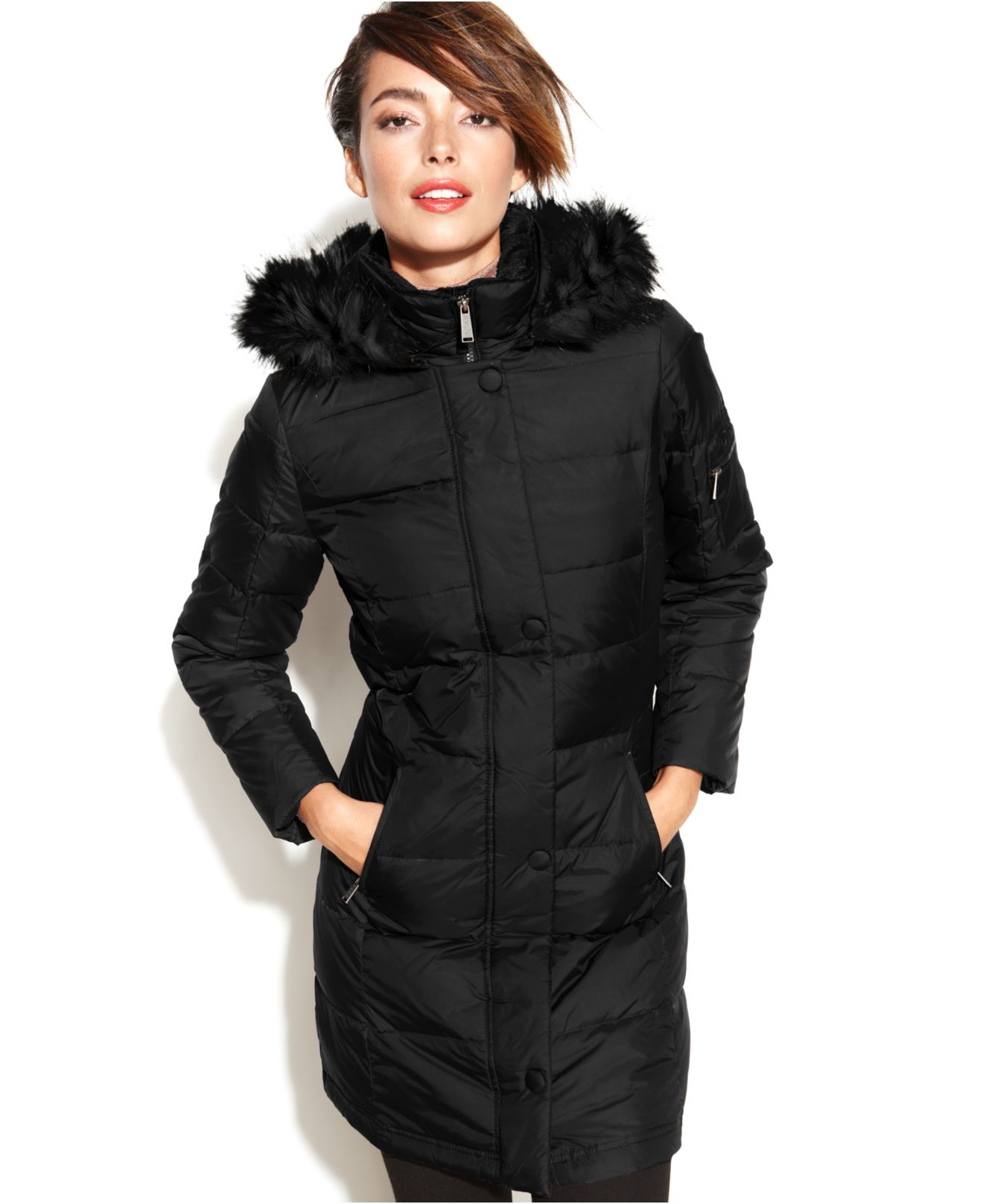 Dkny Petite Hooded Faux-Fur-Trim Quilted Long-Length Down Coat in ...
