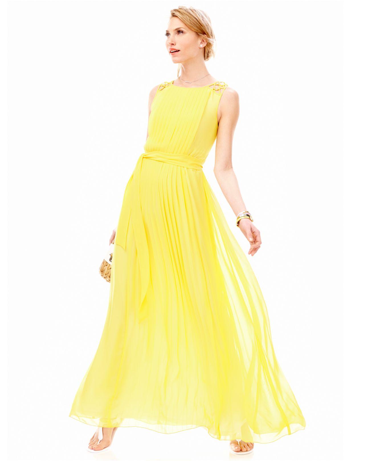 Lyst Jessica Simpson Crochet Strap Pleated Maxi Dress In