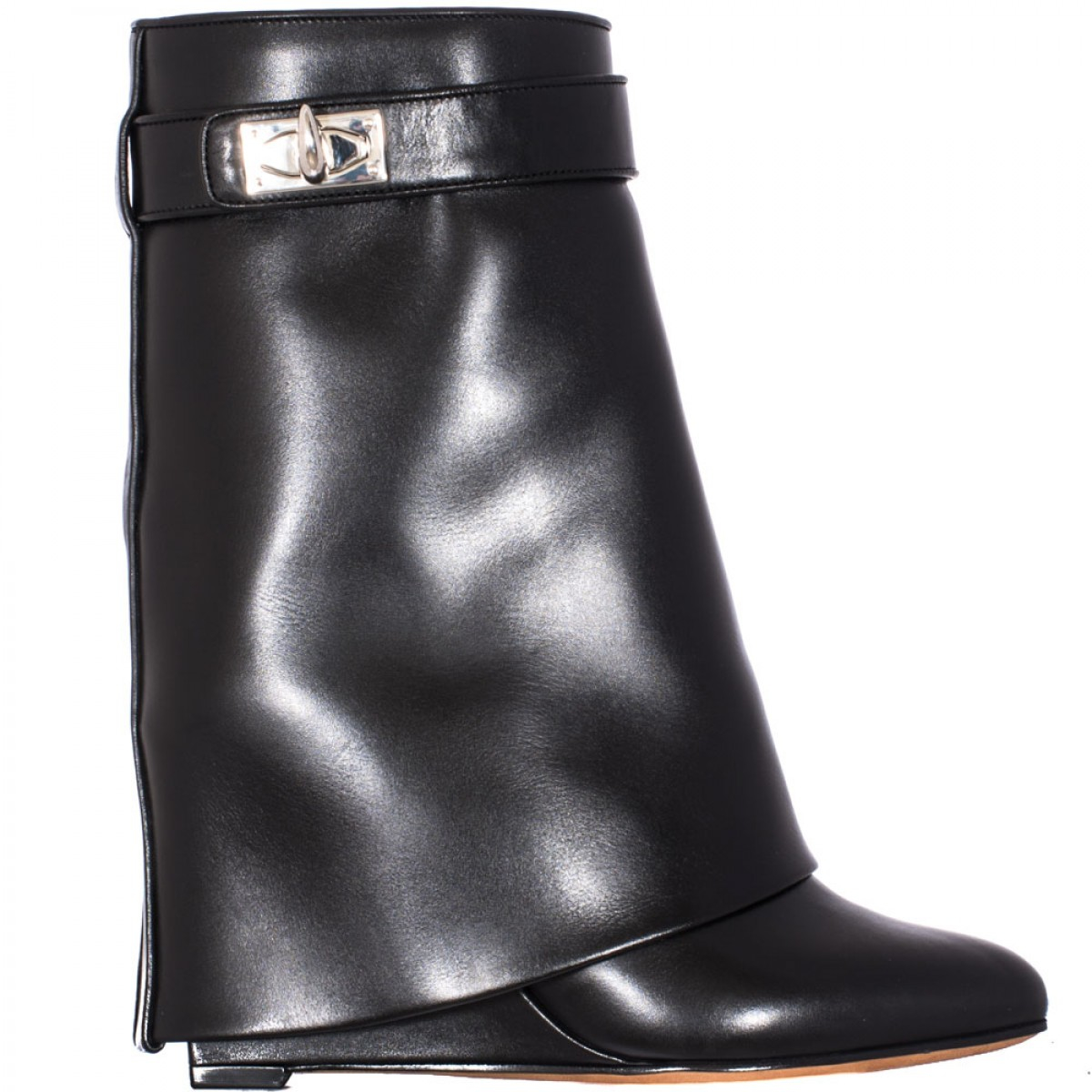 givenchy shark lock leather wedge boots in black lyst