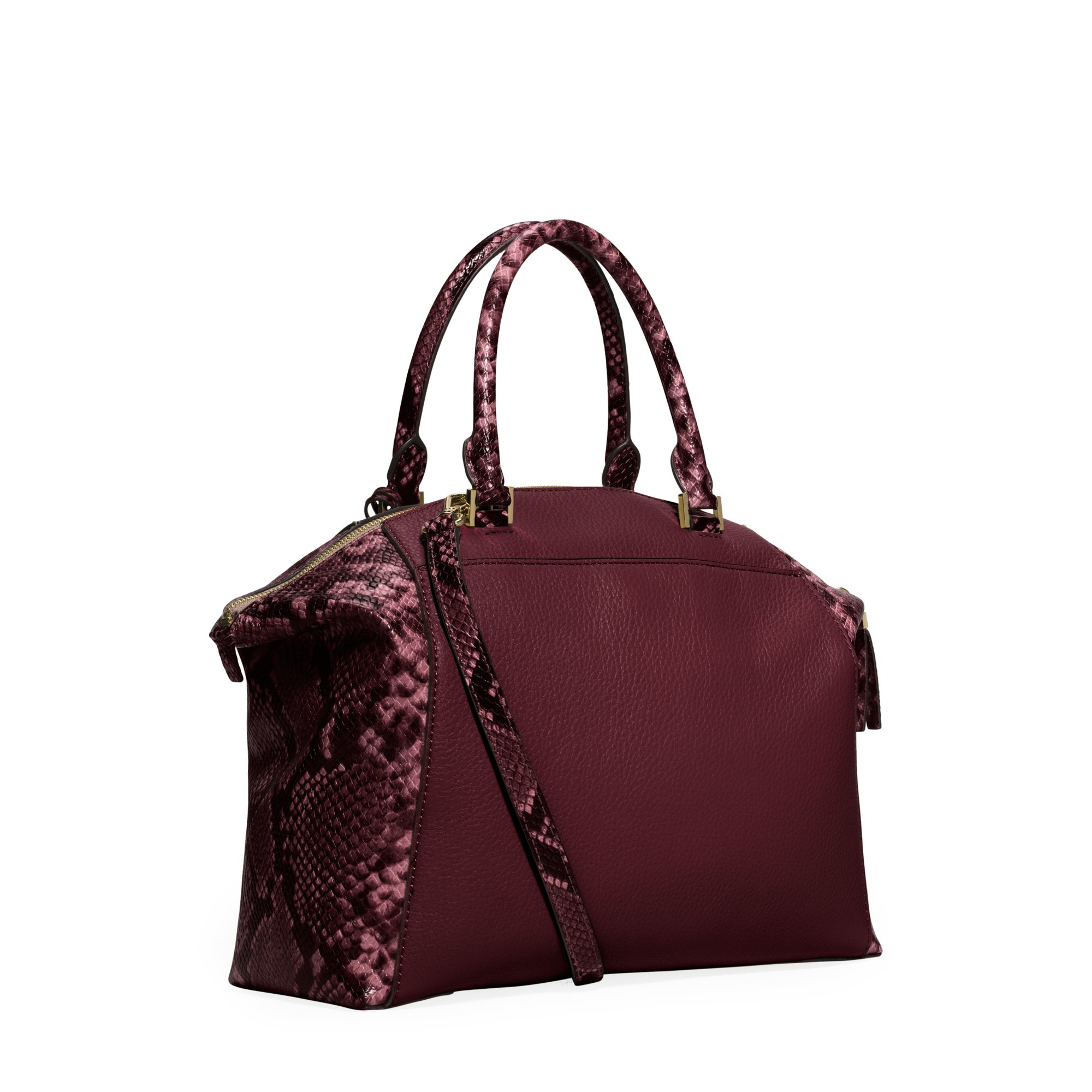 Michael kors Riley Burgundy Python Slough Tote Bag in ...