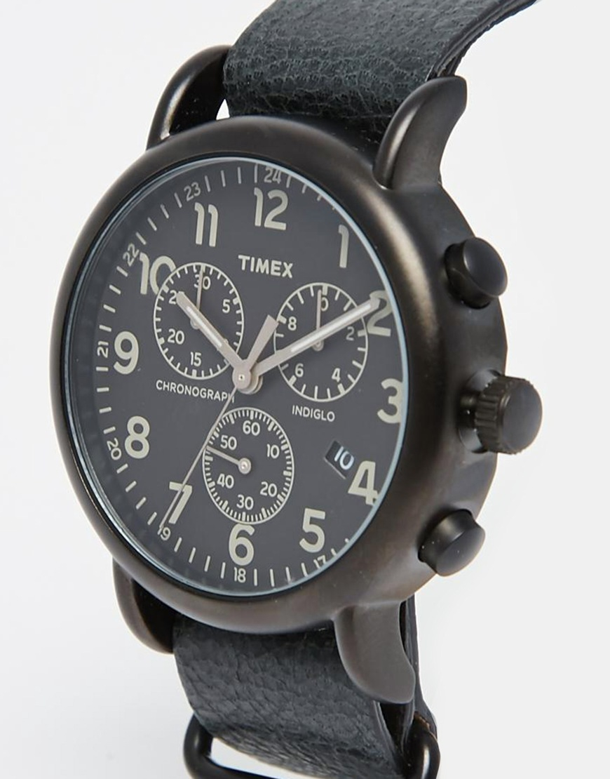 Timex Weekender Chronograph Oversized Leather Watch In