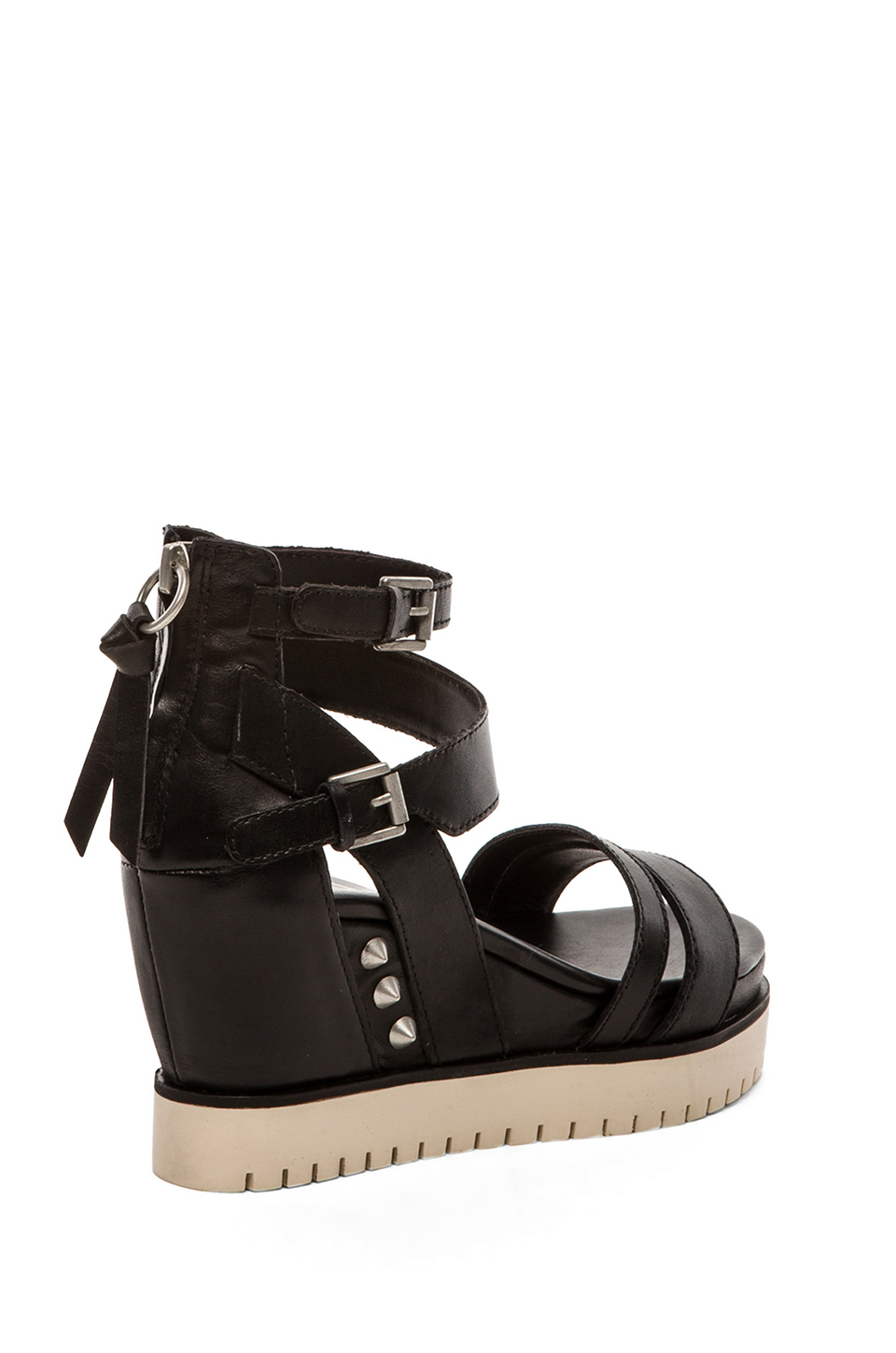 Ash penelope womens black leather wedge sandal