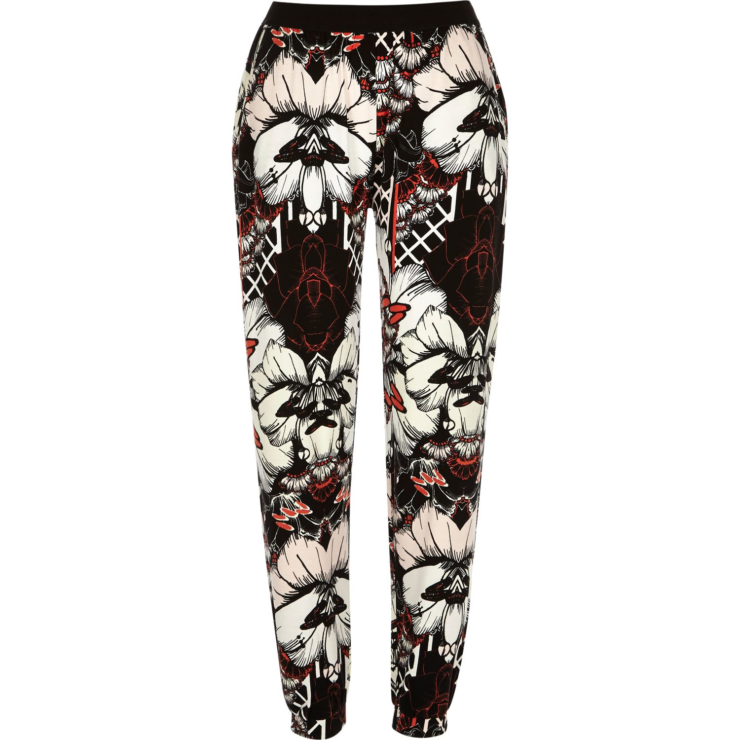 430e62aebb83 Lyst - River Island Black Floral Print Jersey Jogger Pants in Black