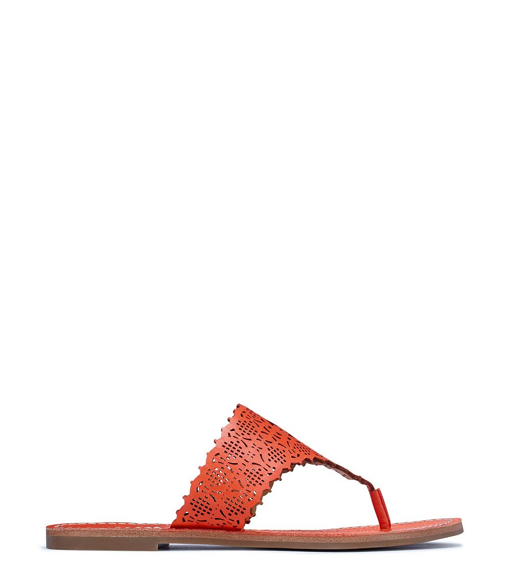 29dd799667575 Lyst - Tory Burch Roselle Cut-Out Leather Sandals in Red