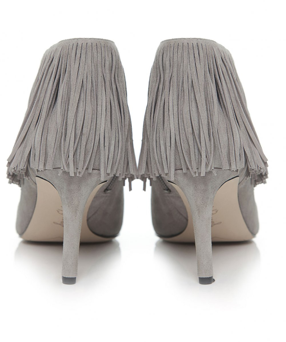 f6a68ab341f9 Lyst - Sam Edelman Kandice Suede Fringe Boots in Gray