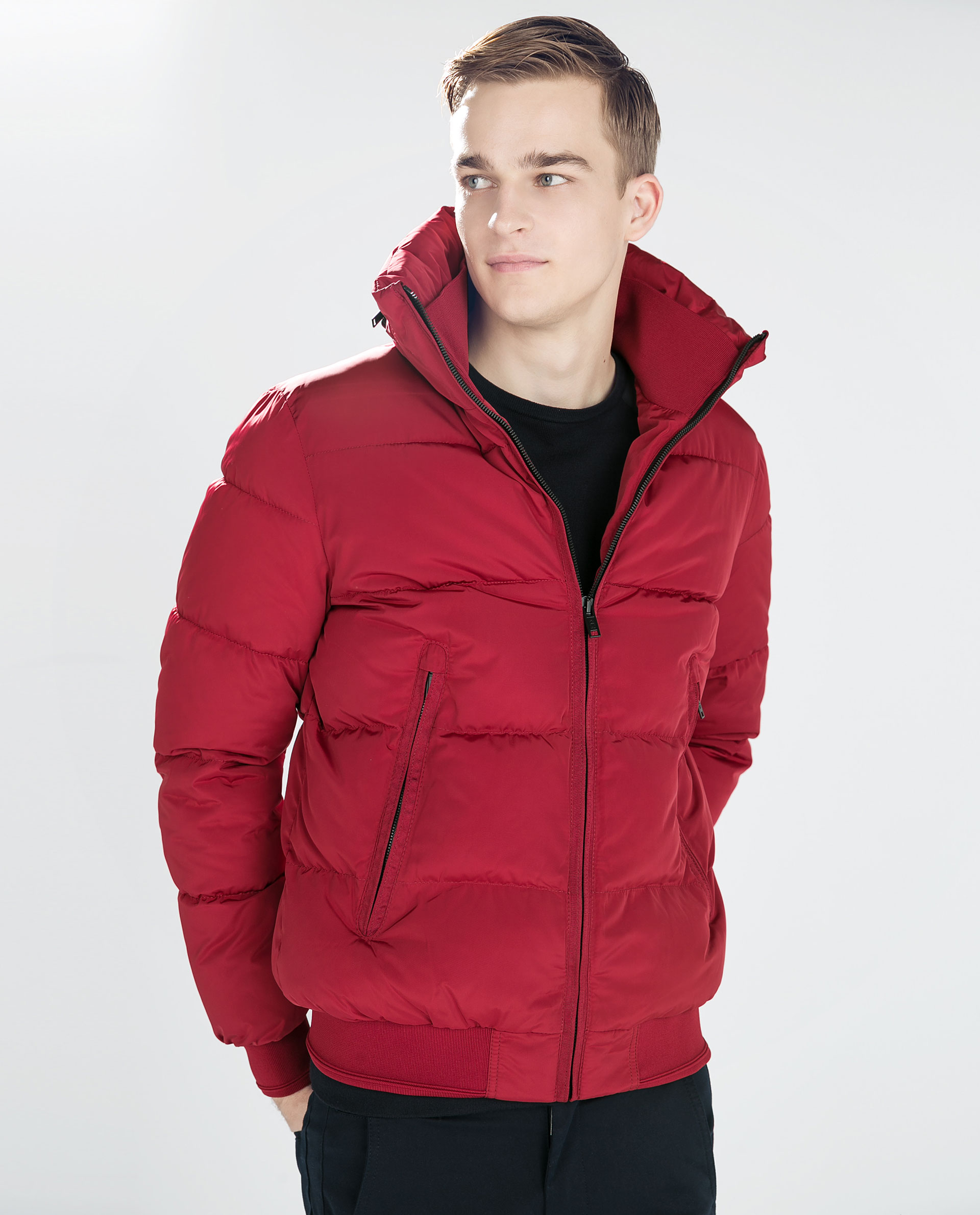 Zara Quilted Jacket in Red for Men | Lyst