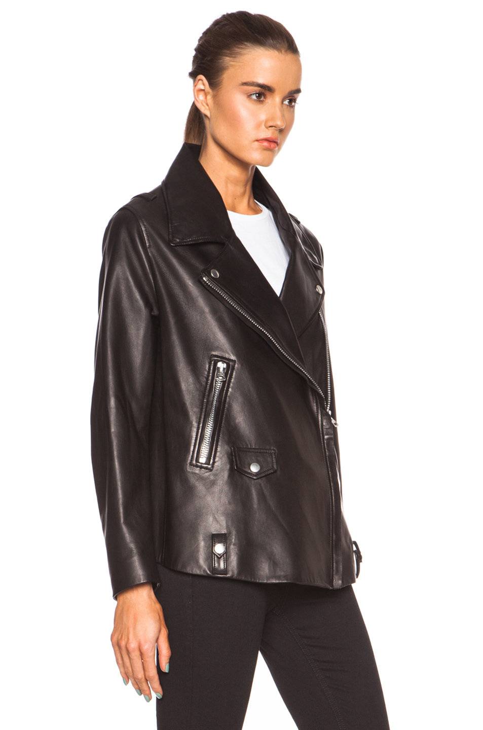 Acne studios Swift Light Leather Jacket in Black | Lyst