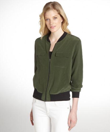 equipment dark green abbot silk bomber jacket in green lyst. Black Bedroom Furniture Sets. Home Design Ideas