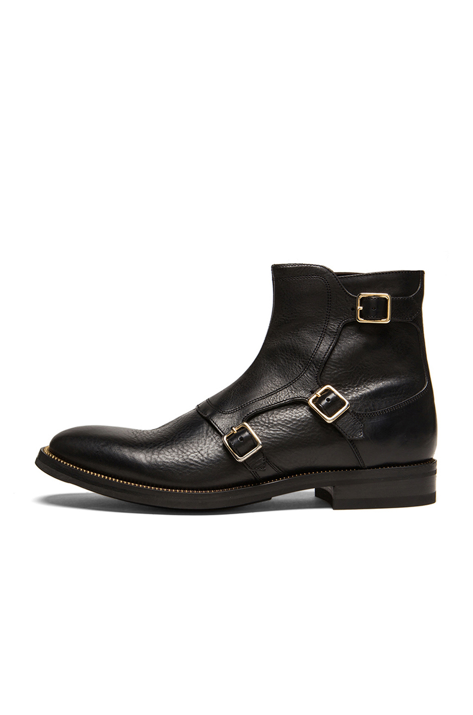 mcqueen s three buckle leather boots in