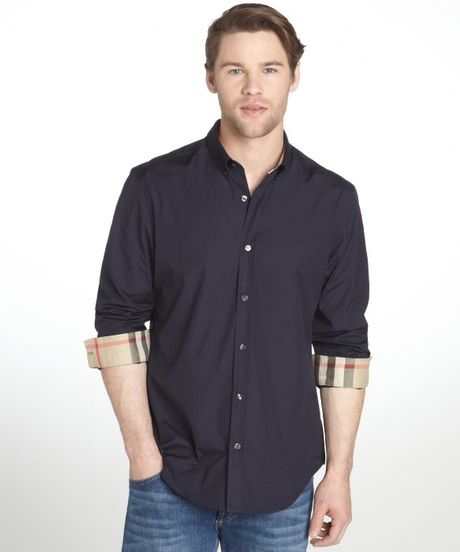 Burberry Brit Navy Cotton Fred Button Down Long Sleeve