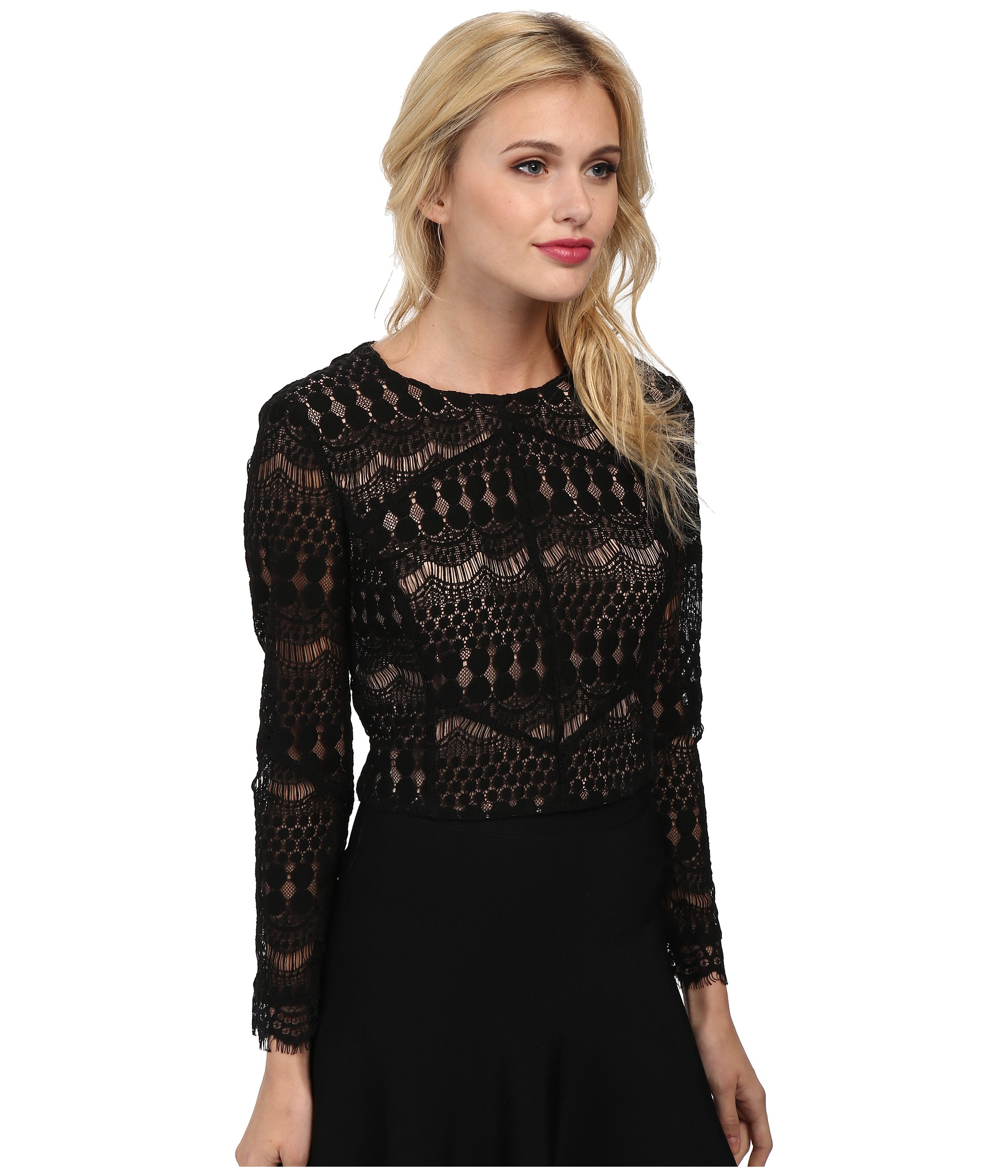 Bardot Lace Panel Top in Black | Lyst