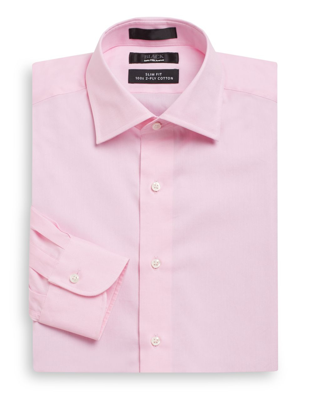 Saks fifth avenue black label slim fit herringbone two ply for 2 ply cotton dress shirt