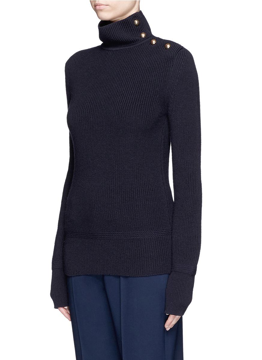 Chloé Button Turtleneck Virgin Wool Sweater in Blue | Lyst