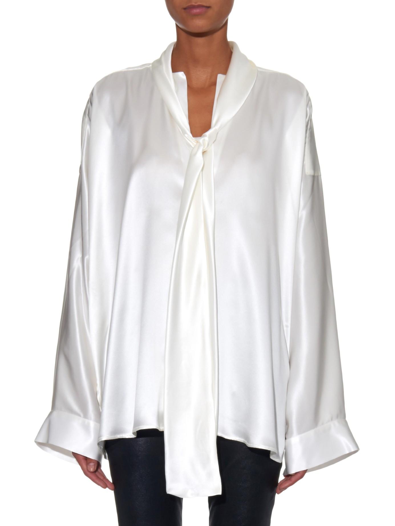 968eaffe7d41dc Haider Ackermann Scarf-collar Silk-satin Blouse in White - Lyst
