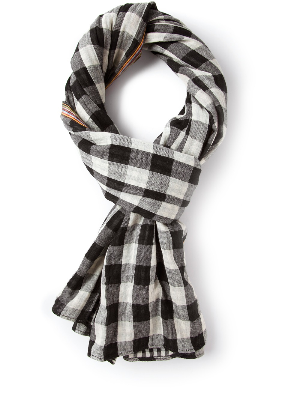 paul smith checked scarf in black for lyst