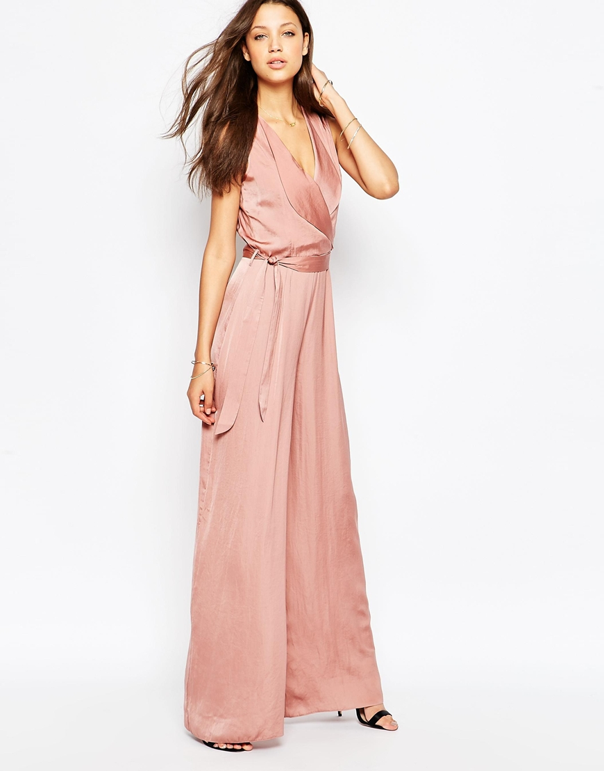 8ddfc41952 Lyst - ASOS Tall Wrap Front Wide Leg Jumpsuit in Pink