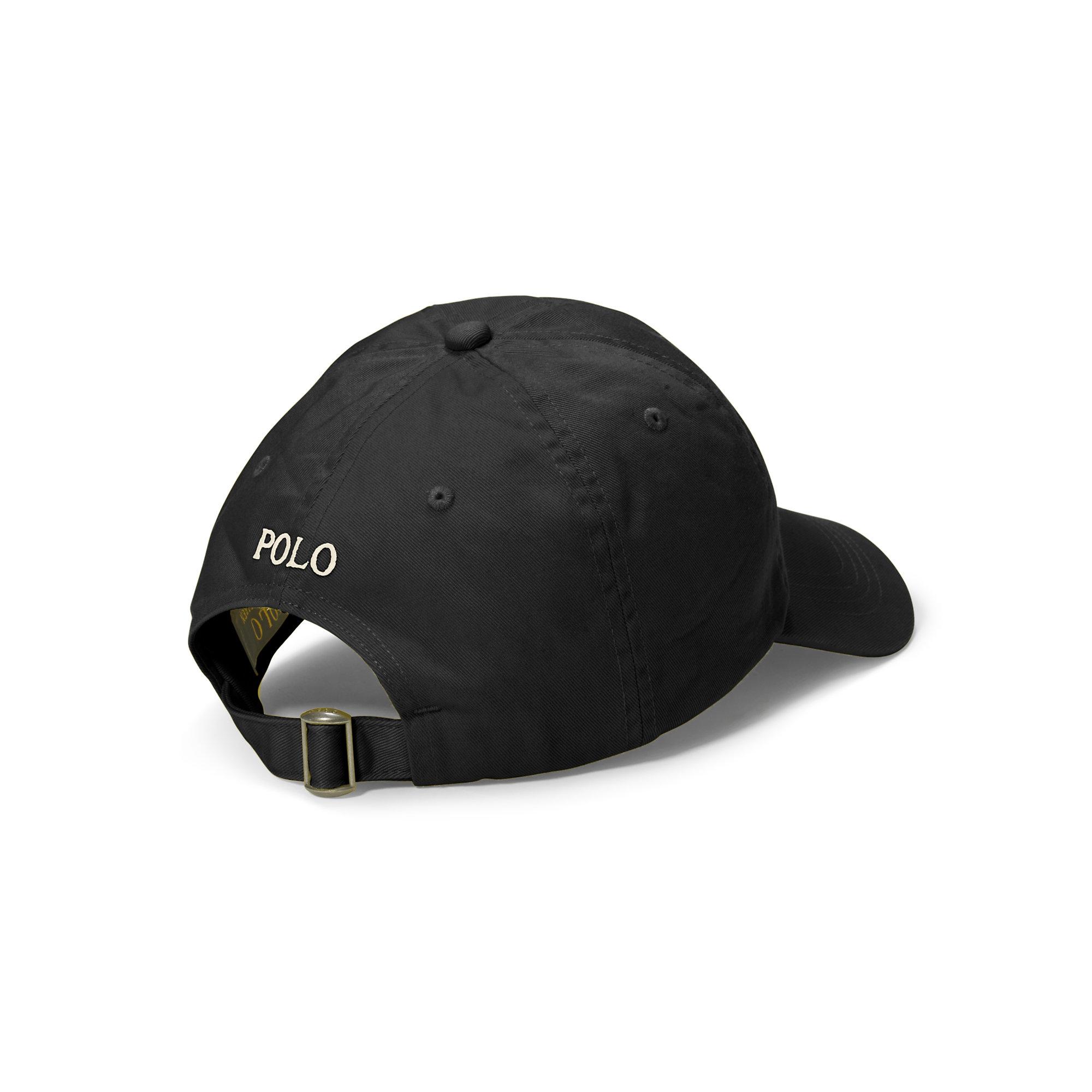 2b1a258a052 Lyst - Polo Ralph Lauren Polo Script Chino Baseball Cap in Black for Men