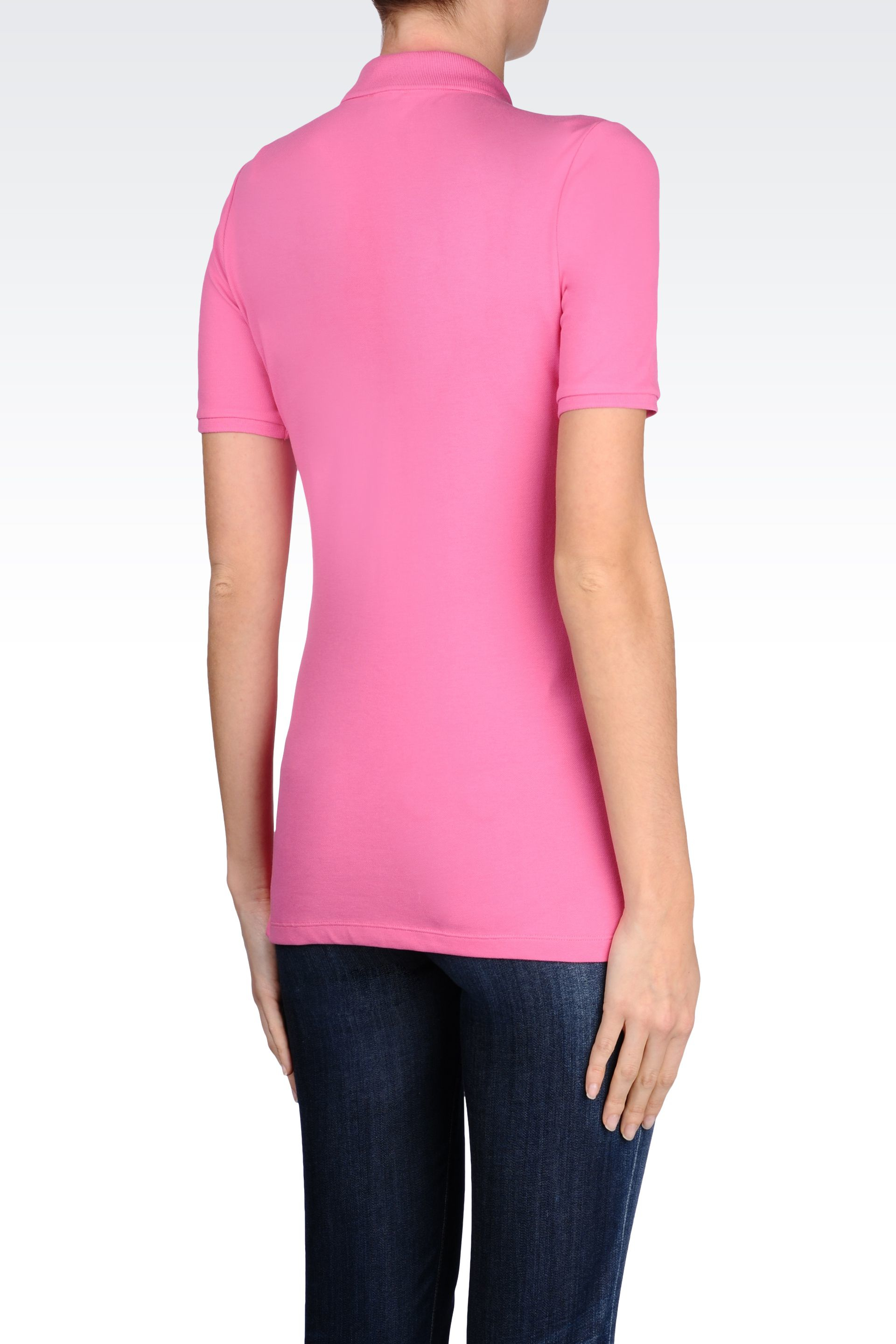 Armani jeans polo shirt in cotton pique in purple fuchsia for Polo shirt and jeans
