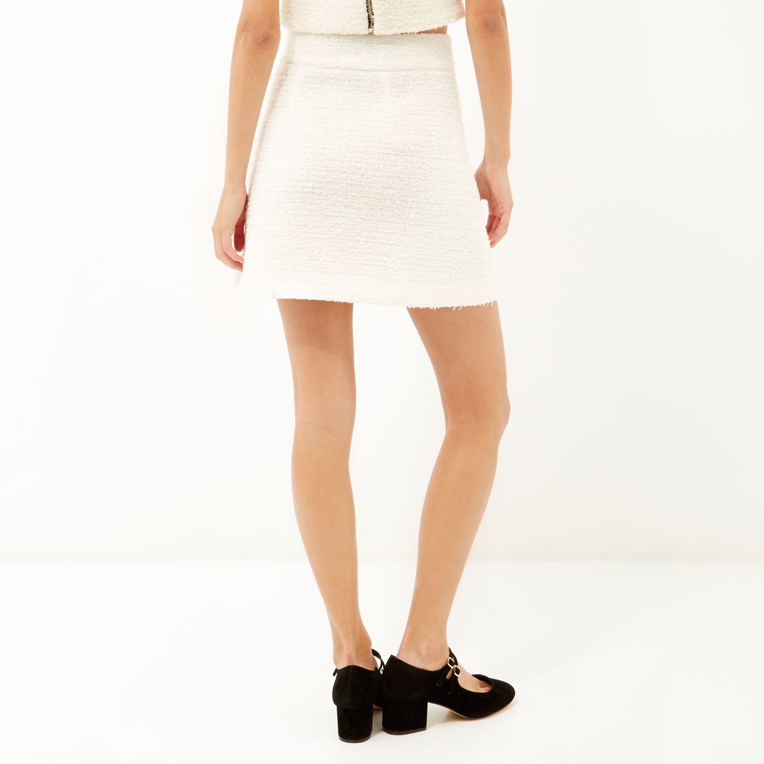 River island Cream Bouclé Zip-front A-line Skirt in Natural | Lyst