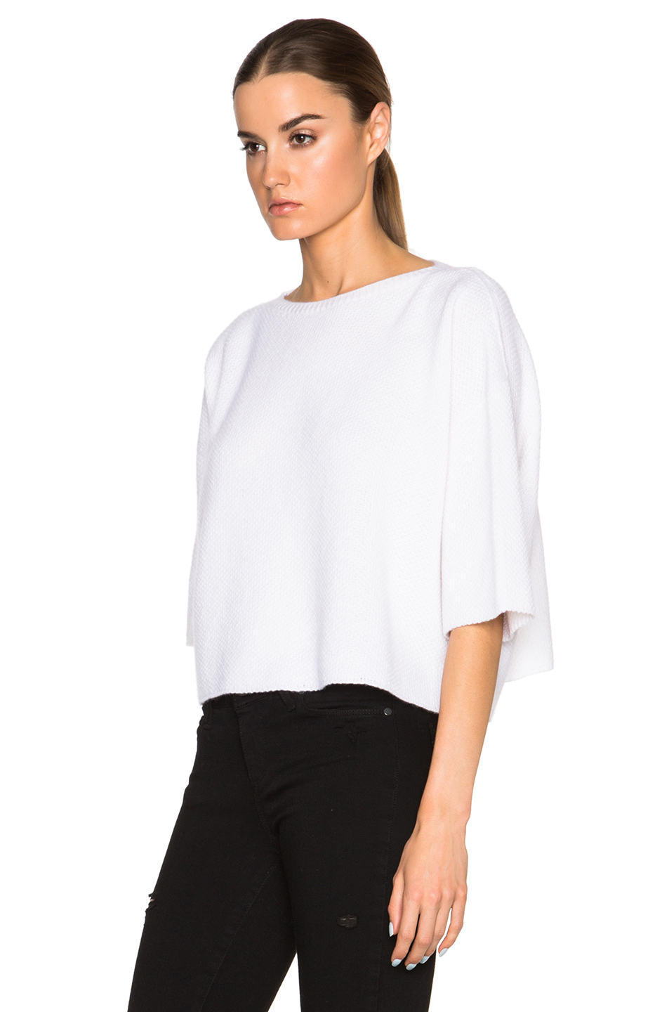 Helmut lang Cashmere Crop Sweater in White | Lyst